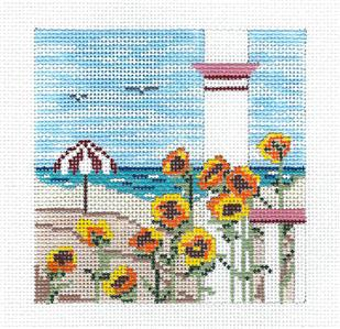 "Canvas~Sunflowers by the Beach 4"" Sq. handpainted Needlepoint Canvas Needle Crossings"