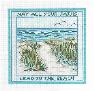 Canvas~May Your Path Lead to the Beach handpainted Needlepoint Canvas Needle Crossings