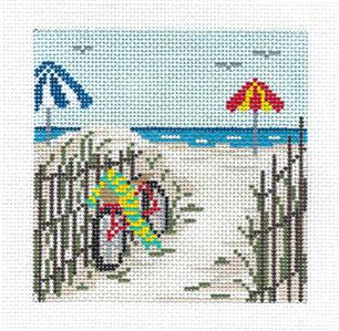 "Canvas~Bicycle by the Beach 4"" Sq. handpainted Needlepoint Canvas by Needle Crossings"