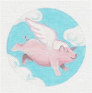 "Round~When Pigs Fly ... handpainted Needlepoint Canvas 4"" Rd by Pepperberry Designs"