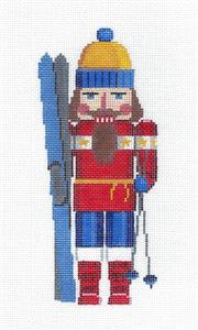 Nutcracker-SKIER Nutcracker in Blue & Red handpainted Needlepoint Canvas by Susan Roberts *SPECIAL ORDER*