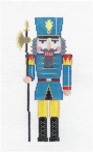 Nutcracker-Yellow & Blue Guard Nutcracker handpainted Needlepoint Ornament Canvas S.Roberts *MAY NEED TO BE SPECIAL ORDERED*