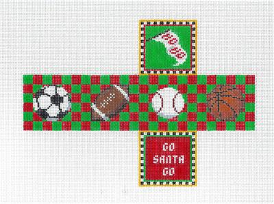 Cube~Sports Balls CUBE 3-D Ornament handpainted Needlepoint Canvas by Susan Roberts