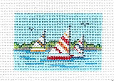 Canvas~Sailboat Race to fit Planet Earth ID TAG ~ HP Needlepoint Canvas by N.Crossings
