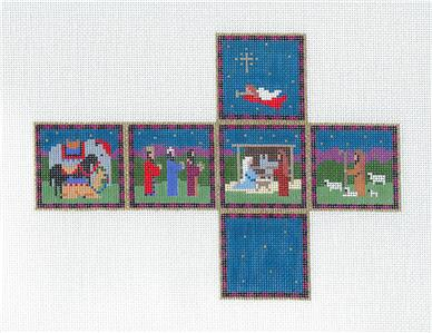 Cube~Nativity CUBE 3-D Ornament handpainted Needlepoint Canvas by Susan Roberts