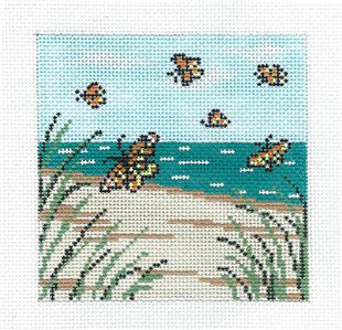 "Canvas~Monarch Butterflies 4"" Sq. handpainted Needlepoint Canvas by Needle Crossings"