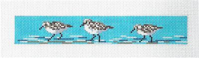 Bookmark or Key Fob-Sandpipers handpainted Needlepoint Canvas Needle Crossings