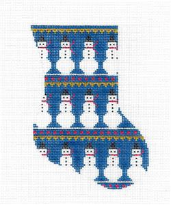 Stocking~Snowmen on Blue Mini Stocking Ornament Painted Needlepoint Canvas Silver Needle