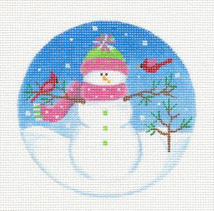"Round~Snow Lady & Cardinal Friends handpainted Needlepoint Ornament 4"" Rd Pepperberry"