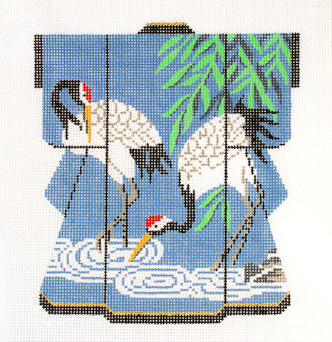 Kimono~ LEE Two Elegant Japanese Cranes Medium Kimono handpainted Needlepoint Canvas