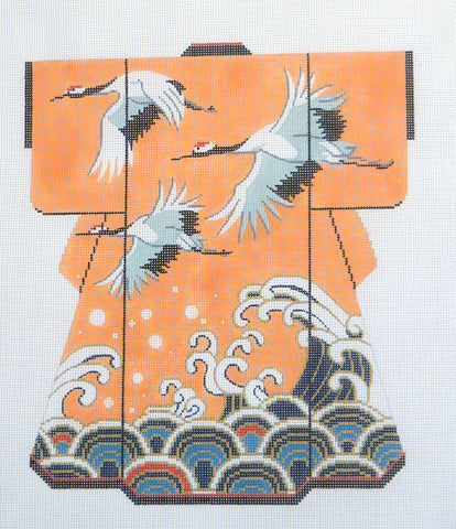 Kimono~ LEE Flying Cranes Over Waves on Peach LG. Kimono handpainted Needlepoint Canvas