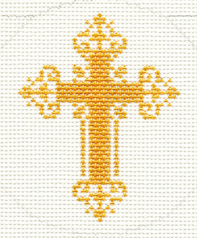 "Cross~ LEE Metallic Gold CROSS handpainted Needlepoint Canvas 3"" Rd. Ornament or Insert"