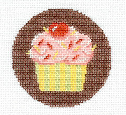 "Round~LEE Cupcake celebration handpainted Needlepoint Canvas 3"" Rd. Ornament or Insert"