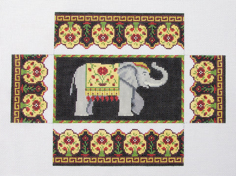 Brick Cover~Door Stop Elephant and Rose handpainted Needlepoint Canvas~by Susan Roberts