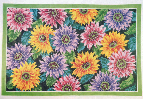 Rug~Dahlias in Bloom Floral Rug Handpainted by LEE Needle Art on 12 Mesh