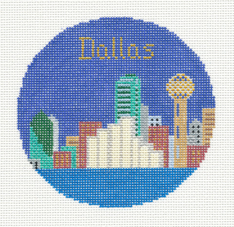 "Round~4.25"" Dallas handpainted Needlepoint Canvas~by Silver Needle"