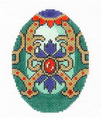 Faberge Egg~DECEMBER Turquoise Birthstone EGG OF THE MONTH handpaint Needlepoint Canvas LEE
