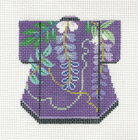 Kimono~Petite Deep Purple Wisteria handpainted Needlepoint Canvas