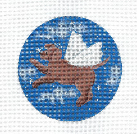 Rainbow Bridge ~ Angel Dog in Heaven handpainted Needlepoint canvas by Ginny Diezel from CBK