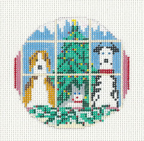 "Round~3"" Two Dogs & 1 Cat and Tree Ornament 18M handpainted Needlepoint Canvas~by Needle Crossings"