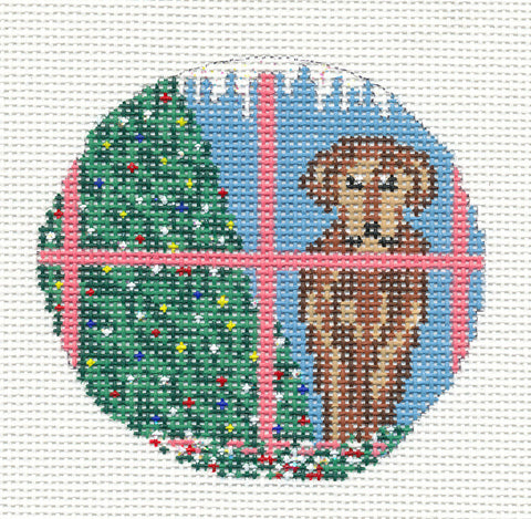 "Round~3"" Chocolate Lab Dog Ornament handpainted Needlepoint Canvas~by Needle Crossings"
