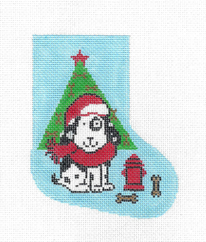 Santa Doggie with a Tree & Bones Mini Stocking on handpainted Needlepoint Canvas by Lee **RETIRED**