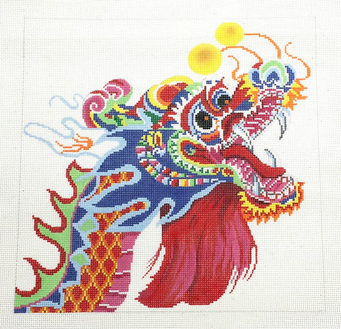 Canvas~Oriental Multi-Color Dragon on White handpainted Needlepoint Canvas ~ 13 mesh by LEE