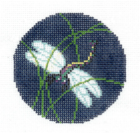 "Round~LEE Dragonfly in the Reeds handpainted Needlepoint Canvas 3"" RD."