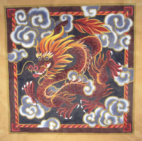 Canvas~Chinese Red Dragon in Clouds handpainted Needlepoint Canvas by Liz