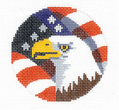 "Round~American Eagle with Flag 3"" handpainted Needlepoint Canvas"