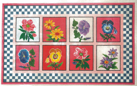 Rug~Eight Flowers Garden Patch Work Handpainted by LEE Needle Art on 12 Mesh