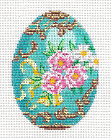 Faberge LEE Jeweled Egg Turquoise & Pink Roses elegant handpainted Needlepoint Canvas