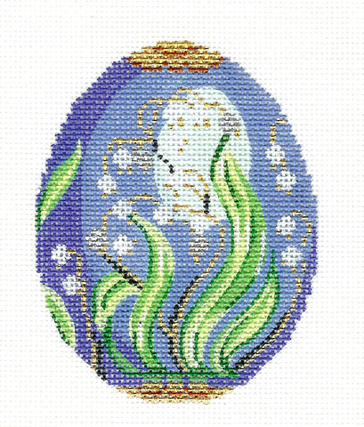 Faberge LEE Jeweled Egg Lily of the Valley on Blue handpainted Needlepoint Canvas 18m