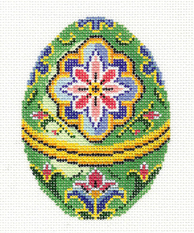 Faberge LEE Jeweled Green Floral EGG handpainted Needlepoint Canvas or Ornament #448