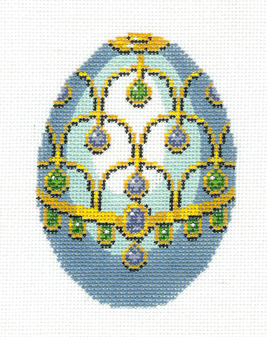 Faberge LEE Jeweled EGG handpainted Needlepoint Canvas HP 458