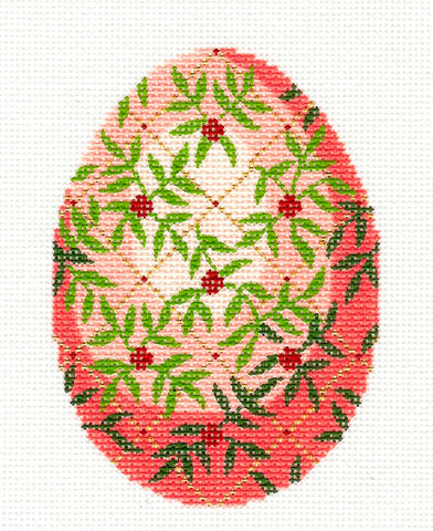 Faberge LEE Jeweled Egg Pink & Green Vines & Trellis Hand Painted Needlepoint Canvas