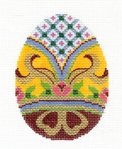 Faberge LEE Elegant Jeweled EGG handpainted Needlepoint Canvas Ornament HP 420