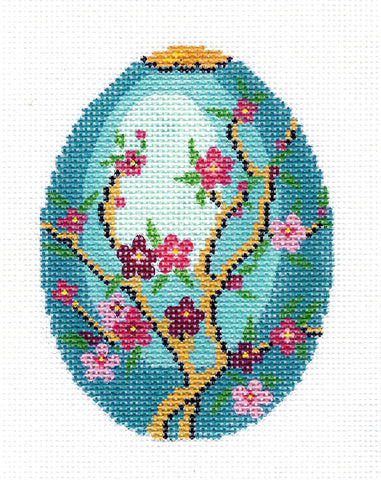 Faberge LEE Jeweled Cherry Blossoms on Turquoise EGG handpainted Needlepoint Canvas