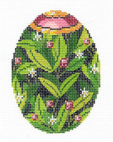 Faberge Egg~MAY Emerald Jewel EGG OF THE MONTH handpainted Needlepoint Canvas by LEE