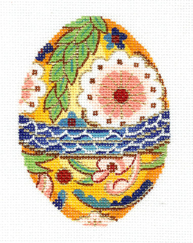 Faberge LEE Elegant Jeweled Egg Floral handpainted Needlepoint Canvas or Ornament