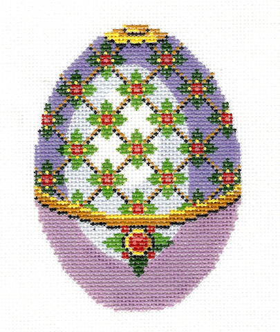 Faberge LEE Jeweled Lavender, Green and Red EGG handpainted Needlepoint Canvas HP 456