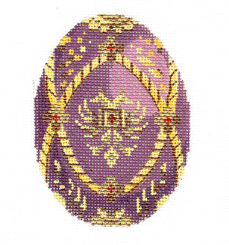 Faberge LEE Jeweled Purple & Gold EGG w/ Crest handpainted HP Needlepoint Canvas 405