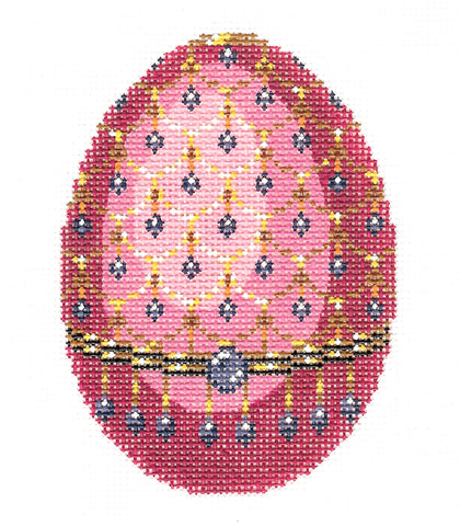 Faberge LEE Elegant Jeweled EGG Rose Pink & Blue handpainted Needlepoint Canvas #457