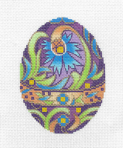 Faberge Egg of the Month ~ FEBRUARY Amethyst Birthstone EGG OF MONTH handpainted Needlepoint Canvas by LEE
