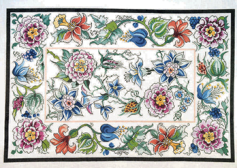 Rug~Floral Porcelain Garden Rug Handpainted by Lee NeedleArts 12 Mesh