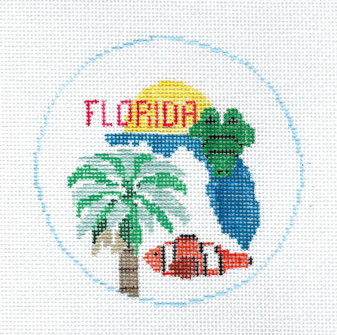 Travel Round~Florida a Tropical Paradise handpainted Needlepoint Canvas~by Kathy Schenkel