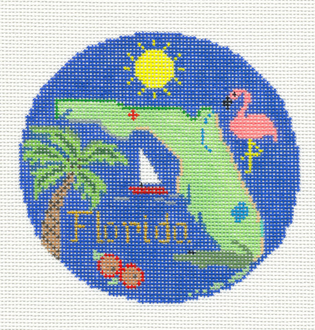 "Round~4.25"" Florida handpainted Needlepoint Canvas~by Silver Needle"