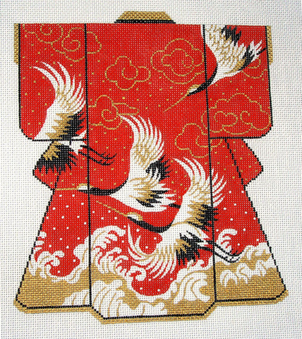 Kimono~ LEE Oriental Flying Cranes Wedding LG. Kimono handpainted Needlepoint Canvas 16m