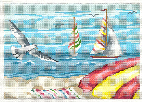 Canvas~Sailboats and Gull handpainted Needlepoint Canvas~by Needle Crossings