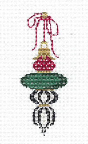Green and Cranberry Drop Ornament handpainted Needlepoint Ornament Canvas ~ Kelly Clark
